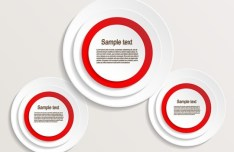 Set Of Red and White Circle Labels Vector