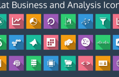 Flat Business and Analysis Icons PSD