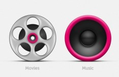 Lovely Movies and Music Icons PSD
