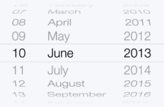 iOS 7 Date Picker UI Vector