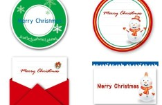 Set of Lovely Merry Christmas Labels Vector 03
