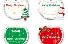 Set of Lovely Merry Christmas Labels Vector 05