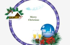 Circular Cartoon Merry Christmas Frame Vector 04