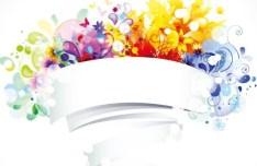 Colorful Blank Flower Frame Vector