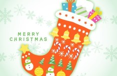 Cute Cartoon Christmas Stocking Vector