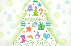 Cute Cartoon Christmas Tree Vector