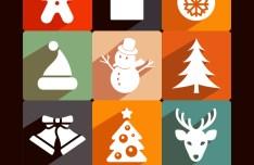 Long Shadow Christmas Icons