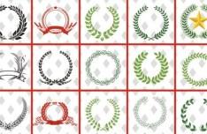 Set Of Vector Laurel Wreath Design Templates