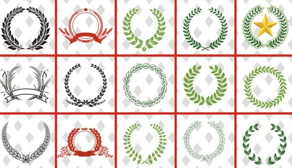 Set Of Vector Laurel Wreath Design Templates