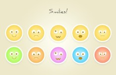 10 Round Flat Emotion Icons PSD