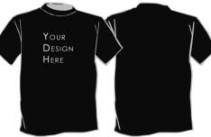 Black Short-sleeved T-shirt Template PSD