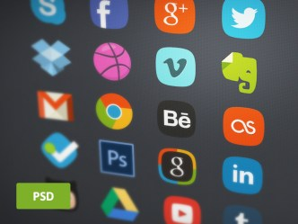 20 Flat Social Badges PSD