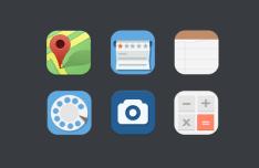 6 Flat Round Web Icons PSD