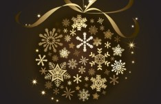 Gold Christmas Ball With Ribbons Vector