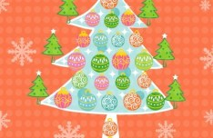 Cute Cartoon Christmas Tree Illustration Vector 02