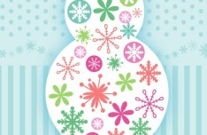 Cute Cartoon Merry Christmas Snowman Illustration Vector 02