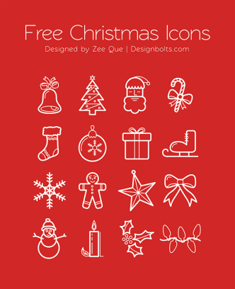 16 Christmas Line Icons Vector