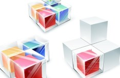 3D Stacked Cubes Vector