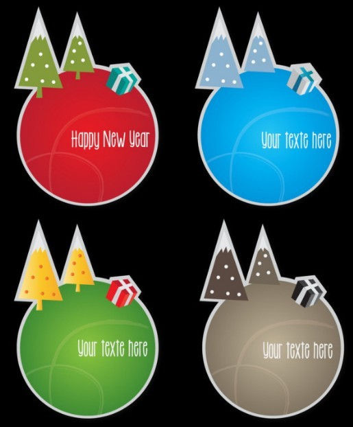 Set of Round Christmas Tree Sticker Labels Vector