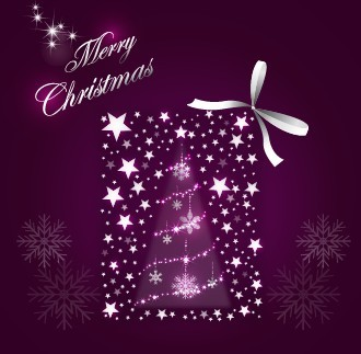 Christmas Gift with Sparkling Stars and Ribbon Bow Vector