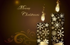 Gold Christmas Candles with Snowflakes and Ribbons Vector