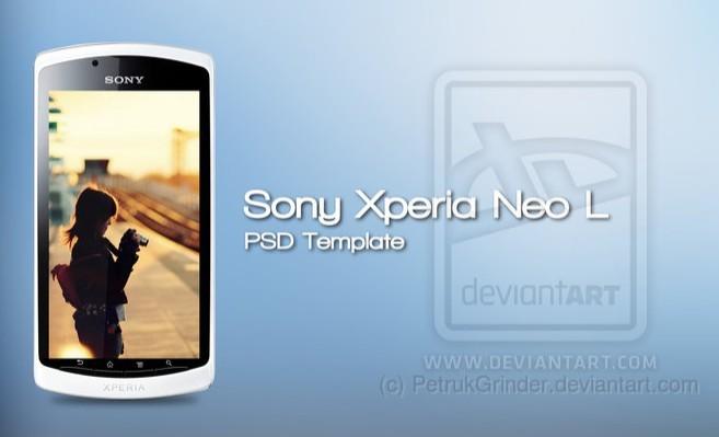 White Sony Xperia neo L Mockup Template PSD