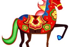 Colorful Horse Illustration Vector