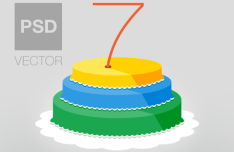 Flat Anniversary Cake Icon PSD