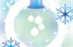 White Snow-covered Garland with Baubles Vector Illustration