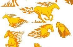 Set Of Fire Horses Illustration Vector