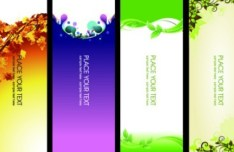 6 Vertical Fresh Floral Banners Vector