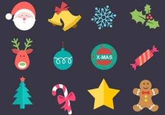 12 Flat Christmas Icons PSD