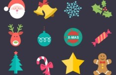 12 Flat Christmas Icons PSD