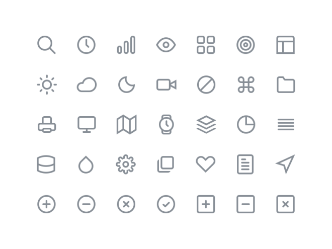 35 Outline Icons PSD - Feather