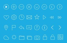 24 Simple Line Icons PSD