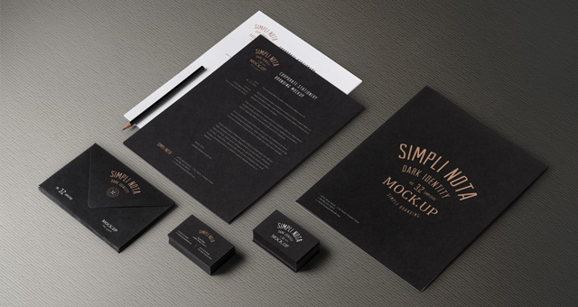Fashion Dark Branding & Stationery Mockup PSD