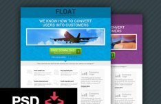 Float Landing Page Template PSD