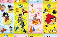Set Of Vertical Cards with Cartoon Characters Background Vector