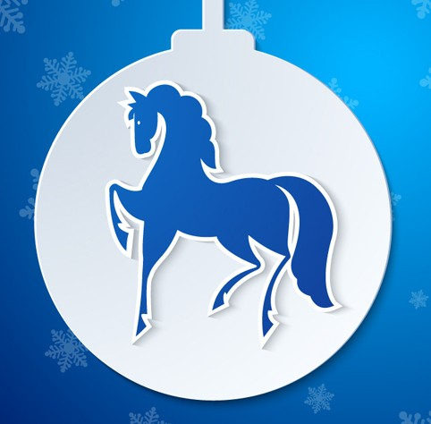Christmas Ball With Blue Horse Vector