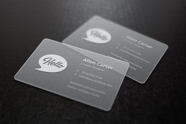 Transparent Plastic Business Card Mockup PSD