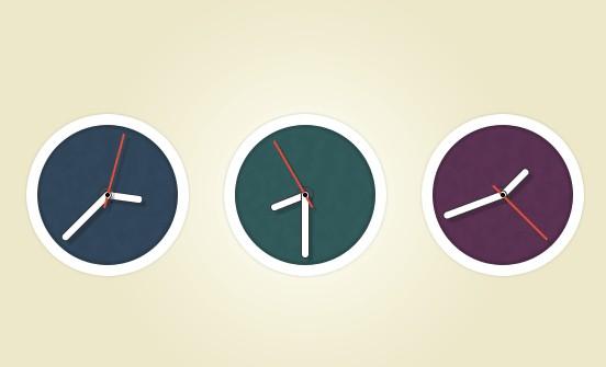 Flat Circle Clock Icon PSD