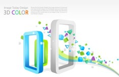 Colorful 3D Shapes Background Vector