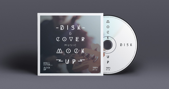 CD Cover Disk Mockup PSD