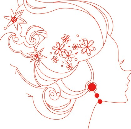 Red Girl Head Line Art Vector