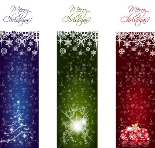 Vector Set Of Sparkling Merry Christmas Banners