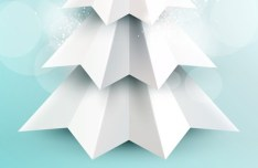3D Origami Christmas Tree Vector Design 01