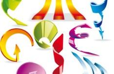 Set Of Sleek Colored Arrows Vector