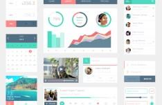 Trendy Flat Style UI Kit PSD