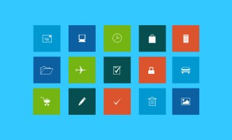 Web Line Icons with Flat Background PSD