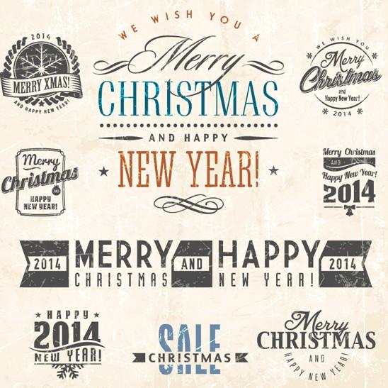 Retro Merry Christmas Labels & Insignias Vector